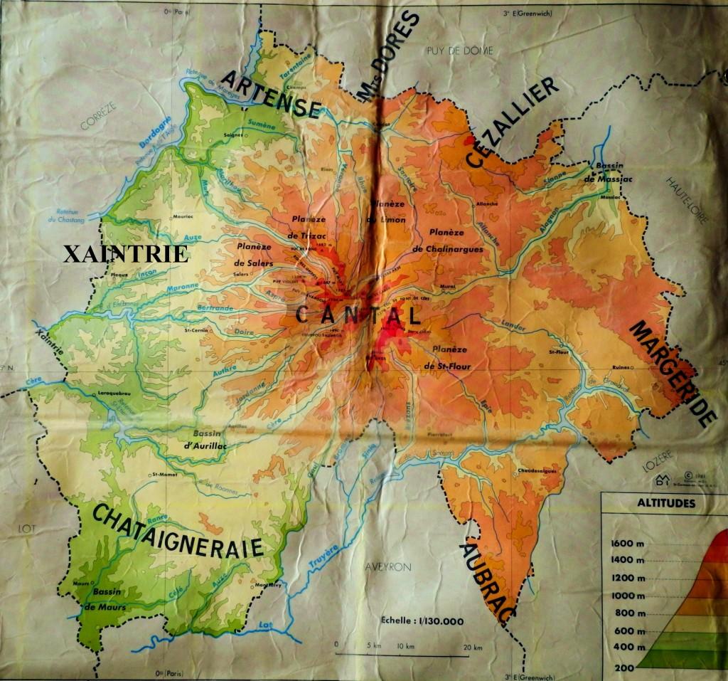 Carte physique du département du Cantal, dressée par P. Wirth.